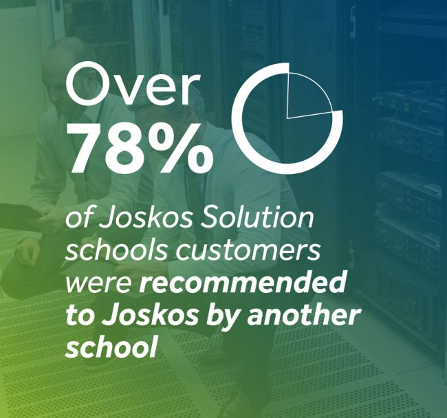 Over 78% of Joskos Solution school customers were recommended to Joskos by another school